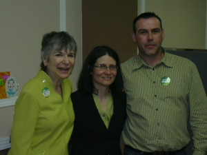Ellen with Adriana Mugnatto-Hamu, Green Party of Canada candidate, Toronto-Danforth, and Mark Daye, nominated candidate, Green Party of Ontario, Toronto Centre