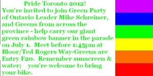 Join GPO Leader Mike Schreiner & Greens from across the province-meet before 1:45pm at Bloor/Ted Rogers Way (Parade Entry F20).